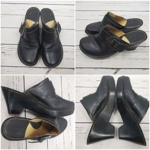BORN concepts leather buckle chunky heeled clogs